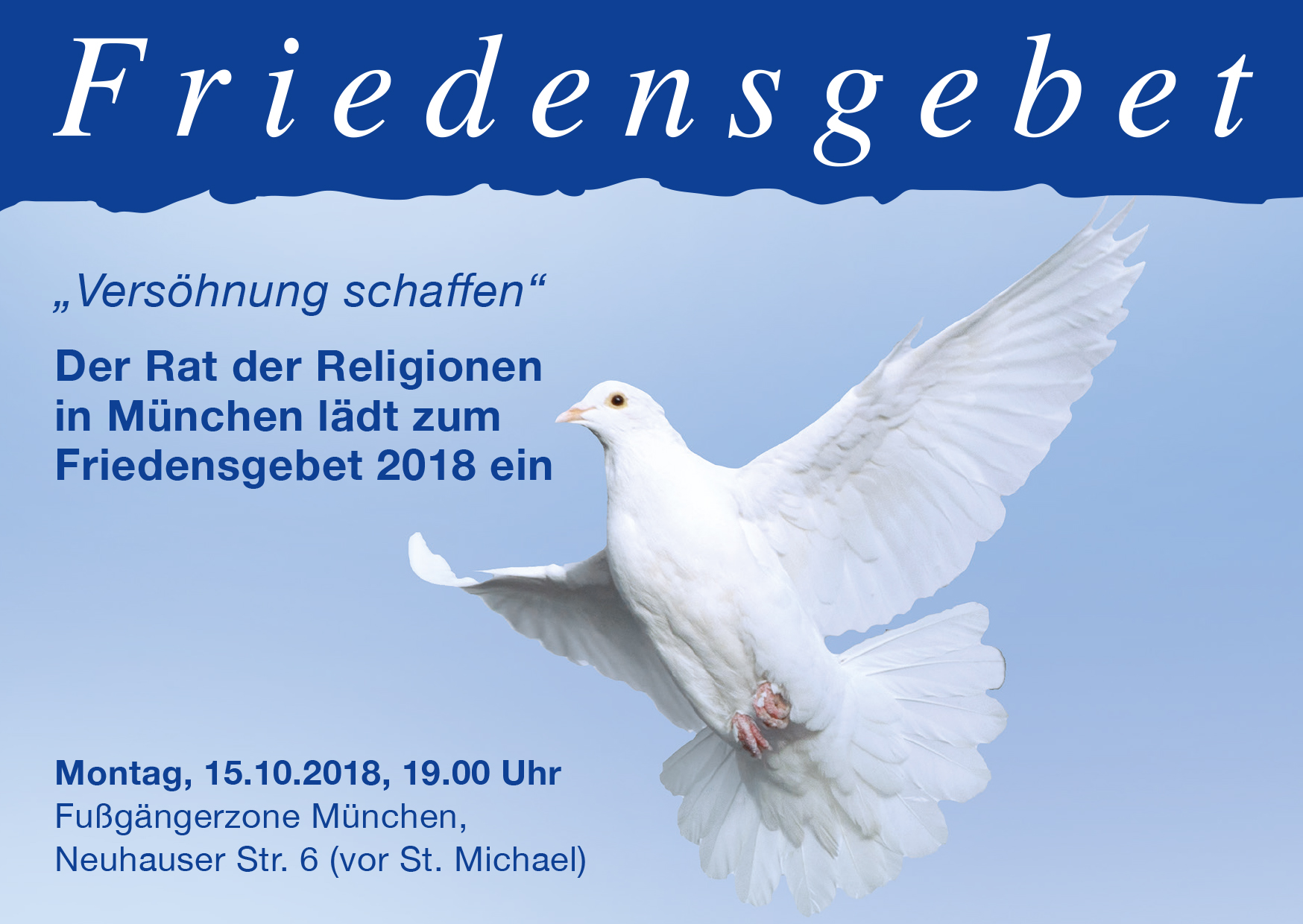 Einaldung zum Friedensgebet 2018